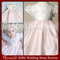 Wholesale 2013 Baby s Lovely Formal Christening Gowns with Beautiful Cap Sleeves Pink Appliques Sash White And Pink Satin First Communion Dresses