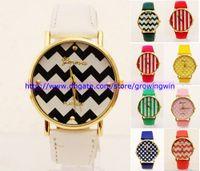 Wholesale Discount cheap price fashion hot geneva women ladies leather watch wave stripe dots quartz watches style colors each