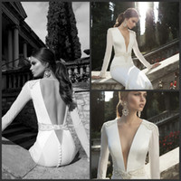 Sheath/Column Reference Images V-Neck Vintage Deep V Neck Berta Winter 2014 Wedding Dresses Long Sleeve Beads Sheath Illusion Sheer V Backless Bridal Gowns Button