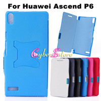 plastic magnetic - New Magnet Magnetic Thin Folding Wallet PU Flip Leather Case Cover Hard Plastic Shell Stand Back For Huawei Ascend P6