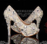 toe shoes - Fashion Fish mouth Pearl Crystal Beaded Wedding Shoes Toe lady s formal shoes Women s High Heels Bridal Evening Prom Party Bridesmaid Shoes