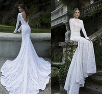 Trumpet/Mermaid Reference Images Bateau Berta Bridal Winter 2014 Collection Wedding Dresses Lace Long Sleeves Bateau Backless Mermaid Cathedral Train Lace Bridal Wedding Gowns