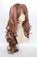 Mix Color 65cm Girl Lolita Pink brown mix half long party cosplay costume wig,65cm,heat resistance fibre.Free shipping