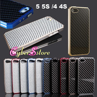 Wholesale For iphone S Luxury Aluminum Metal Housing Bumper Case with Carbon Fiber Material Panel Cover for iphone S With Retail Package