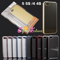 Wholesale iphone S Top Quality Aluminum Metal Housing Bumper Case with Carbon Fiber Material Panel Cover for iphone S With Retail Package