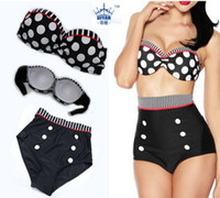 2014 New Style high waist swimsuit Retro Swimsuit dot swimwe...