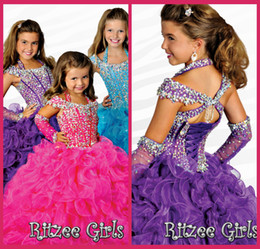 Little Girl Pageant Dresses Off The Shoulder Purple Organza Lace Up Kids Party Gown Beading Crystal Gowns Ruffle Dress
