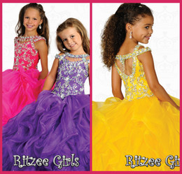 Cheap Flower Girl Dresses Scoop Ball Gowns Purple Organza Glitz Pageant Dress Crystal Beading Gown