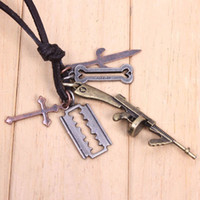 Wholesale Vintage Leather Cord Jewelry Gun Cross Sword Shape Pendant Necklace DIY Jewelry QNN8003