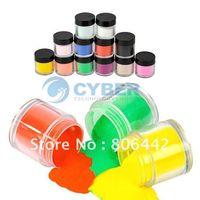 Full Natural Tips Square  Nail Tips Hot!! 12Colors Acrylic Powder Dust Jumbo Set for Professional Nail Art Design Free Shipping
