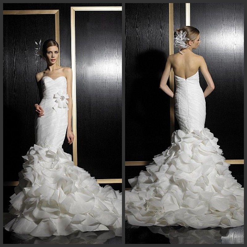 2014 spring mermaid white wedding dresses organza for Wedding dress with ruffles on bottom