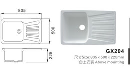 Wholesale Modern Acrylic solid surface resin kitchen sink GX204