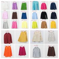 Unisex plain t-shirts - spring quality tops kids children s boy s girl s plain solid color primer shirt round neck candy color long sleeve T shirt boy girl shirts