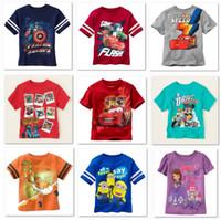 Boy Summer Standard Cartoon Children T shirts Short Sleeve Boys Tshirts Car Minions 2y-6y Children clothes HOT SALE