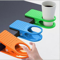 Wholesale DHL Creative Space Saving Deskside Drinklip Office Table Desk Coffee Cup Holder Clip Promotional Gift Item