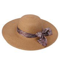 Wholesale Fashion Women Lady Straw Hats Summer Soft Casual Beach Sun Caps With Bowknot Silk Ribbon DVM1