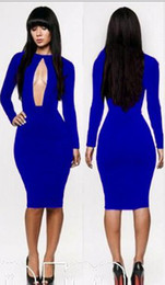 Wholesale Retail Hot Selling New Fashion Long Sleeve Sexy Bandage Autunm Spring Bodycon Slimming Club Party Midi Dresses