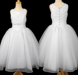 Flower Girl Dresses Ball Gown Jewel Pleats Beads Crystal Floor Length White Organza Kids First Communion Gown Wedding Party Dress DL10937