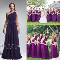 Plus Size Royal Blue Chiffon Grape Cheap Bridesmaids lavende...