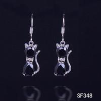 Cheap 925 Sterling Silver Black Cat Crystal Jewelry Pendant Earring Fashion Eardrop Dangle Earring SF348*10