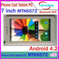 7 inch Android 4.2 4GB DHL 50PCS 7 inch MTK6572 Dual Core Android 4.2 2G Dual Camera Tablet PC (phablet) with dual Sim card slot GPS Bluetooth YX-MID-10