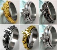 Wholesale 30pcs Spin Jesus Cross Fashion Stainless Steel Rings Men s Jewelry