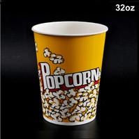 Wholesale 32oz Color Paper Popcorn Box Disposable Dessert Cup Holder Party Supplies CK152