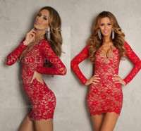 2014 Long Sleeve Cocktail Dresses Deep V Neck Vintage Red La...