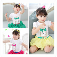 Wholesale High Quality Kids Outfits Summer Girl Children Lace Pearl Skirt Perfume Cartoon Printed Short Sleeve T shirt Suits Sets