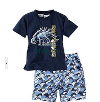 Wholesale clothing sets factory price dinosaur sets children clothes top quality boy s beach set t shirt shorts EMS FREE TO AUS