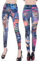 Wholesale 2014 Andrew New Jeans women girl Sexy Leggings Jeggings Tights Skinny Fashion Girls Pants Jean tattoo Legging