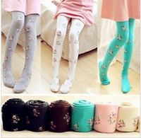 kids pantyhose - Vintage Flowers Printed Slim Children Girls Stockings Kids Pantyhose Princess Child Leggings Tights B3092