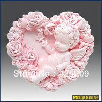 silicone  ECO Friendly  supernova sale new 2013 3D Handmade soap silicone mold, baby molds heart shaped rose angel candle mould,moulds, wholesale