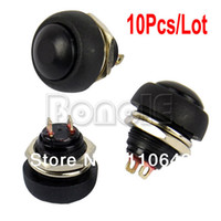 Push Button Switches TK0304# Black 10Pcs Lot Black Momentary OFF (ON) Push Button Horn Switch Retail & Wholesale Free Shipping TK0304