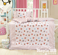 Wholesale baby crib bedding sets piece quilt pillow including filling kids children bedding sets cotton cute cartoon bear