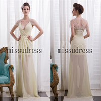 Reference Images V-Neck Chiffon Wow,New Stylish V-neck See-through Crystal Beads Long Chiffon Evening Dress Sexy Charming Prom Gown Custom Made
