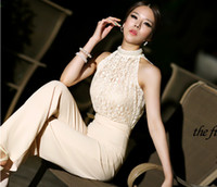 100% Cotton Sleeveless Capris New Arrival Korean Women Jumpsuit Chiffon High-End Custom Sleeveless Neckline Pearl Lace jumpsuit Wide-legged Slim Long Pants Spring CQY3-15