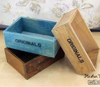 wooden planter - Meat Flower Wooden Pot Desktop Vintage Retro Finishing Small Wooden Planter Box