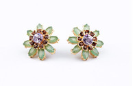 Wholesale Fashion Good Price Jewelry for Womens Exquisite Alloy Crystal Gemstone Light Green Wun Flower Stud Earrings Pair per ed00397