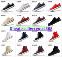 Wholesale Drop Shipping size35 New Unisex Low Top amp High Top Adult Women s Men s Canvas Shoes colors Laced Up Casual Shoes Sneaker shoes shoe