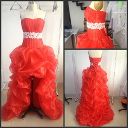 Wholesale 2014 In Stock Special Ocassion Dresses Red Sexy Sweetheart Beaded Crystals Prom Dresses Sash Laced High Low Evening Gowns P65
