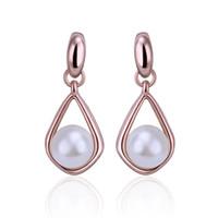 Wholesale White Pearl Drop Earrings Fashion Earrings Rose Gold Plated Alloy Earring Drop Shipping