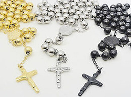 Wholesale Solid Gold Rosaries - Silver Gold Black Pick Heavey fashion MEN`S HEAVY SOLID STAINLESS STEEL(30''+5.5'')8mm ROSARY NECKLACE*106g