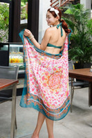 Wholesale Coral Cockscomb Pattern With Turquoise Hemline Detail L40641 Pareos Beach Sarong Lightsome Flower Chiffon Beach Sarong For Women