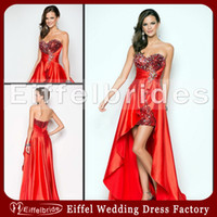 Wholesale 2014 Sparkly Prom Dresses with Sexy Bling Beaded Crystal Sweetheart Neckline and Elegant Short Front Long Back Red Sequined Evening Gowns