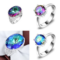 Asian & East Indian antique wedding ring set - Carnival Masked Ball genuine colorful mystic topaz Antique Silver Charms Rings Z0002
