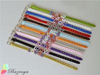 Wholesale Rhinestone Words Belt Bracelets LOVE HONEY SMILE BABY LUCK Mixed Leather Bracelet Tennis Multi Color Personalized Girl Jewelry SZ214