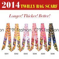 Wholesale CMK S004 Colors Silk Polyster Bag Scarf Twilly Scarfs Ladies Scarf Headband Fashion New Handbag Scarves x5 cm DHL free