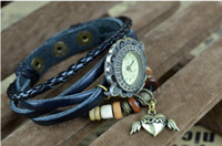 Wholesale Weave WRAP Around Leather Bracelet Woman Wrist Watch Angel Heart Blue zt4