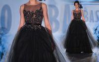 Reference Images Jewel/Bateau Chiffon Evening Dresses New 2014 Paolo Sebastian Bateau Neckline Appliques Beaded Chiffon Floor-Length vestidos de fie Mermaid Black Gown